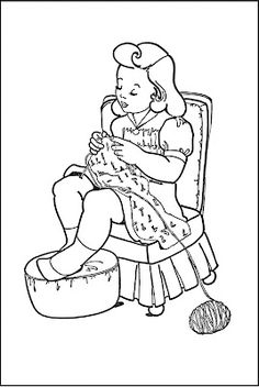 kids printable coloring page girl knitting the graphics fairy - Coloring Child