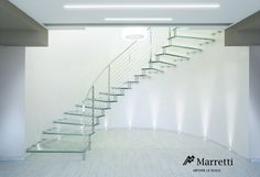 EXQUISITE Glass Cantilever Staircase, production by Marretti, Made in Italy.