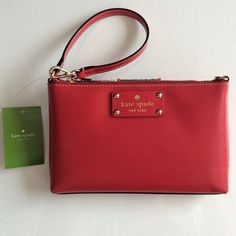 Kate Spade Linet Wellesley wristlet in Pillbox Red Gorgeous red color. Gold tone hardware. Approximate measurements 8x5x1 inches. Leather. Interior has 3 slots for cards. Original retail price $135.00. NWT. No dust bag or box. kate spade Bags Clutches & Wristlets