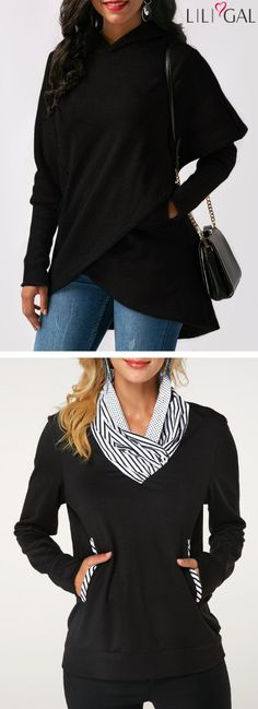 Time to add some streamlined style to your wardrobe with these casual black hoodies&sweatshirts from Liligal, warm and comfy, these stylish finds are effortless looks for chilly day life. Night Outfits, Winter Outfits, Cute Outfits, Fashion Outfits, Fashion Ideas, Curvy Fashion, Plus Size Fashion, Women's Fashion, Cardigan Outfits