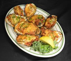 Joe and Dave's Favorite Oysters (8) Baked with garlic cocktail sauce, applewood bacon crumbles and grated Parmesan cheese. Sure to please!