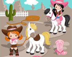 Wild West Cute Cowboy Clipart Red & Blue Instant Download