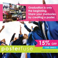 Graduation is just around the corner, and the beginning of your lives! Recap your favorite 4 years with an Instagram poster www.posterfuse.com   15% off for a limited time only. Terms and conditions apply.