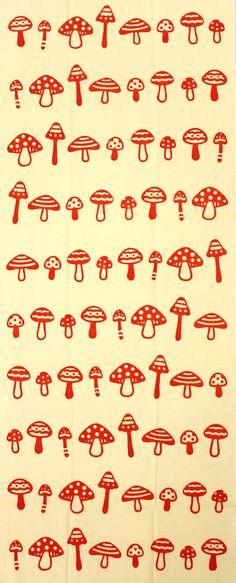 Japanese washcloth, Tenugui きのこ Japanese mushrooms