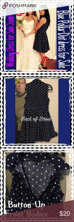 Navy Blue Polka Dot sleeveless Dress, size MEDIUM Navy Blue Polka Dot sleeveless Dress.  Tulle on slip gives this DRESS FLAIR!  Ruffled Bodice with 3 buttons (same pattern as Dress) side Zipper for easy in and out 😉 has a bit of Pin-Up look.  Very cool and flattering Dress!! Size Medium Venus Dresses Midi
