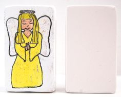 Christmas Angel.  Paint your own nativity set using our letter/picture blocks - free-standing, own-brand ceramic bisque pottery designs.