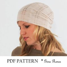 Slouchy beanie pattern. PDF Sewing pattern for slouchy hat. Jersey fabric.