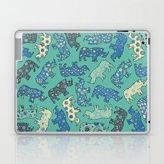 Rhino Patchwork Pattern - emerald & blue Laptop & iPad Skin by micklyn - $25.00