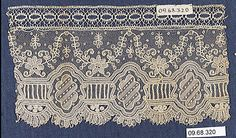 Needle Lace Fragment Date: 19th century Culture: Belgian (Brussels) Dimensions: L. 7 x W. 3 3/4 inches 17.8 x 9.5 cm Classification: Textiles-Laces-Needlepoint Accession Number: 09.68.320