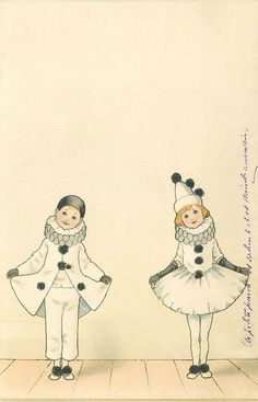 illustration Pierrot and Pierettte Pierrot Costume, Pierrot Clown, Art And Illustration, Vintage Illustrations, Image Cirque, Circo Vintage, Cute Clown, Vintage Clown, Send In The Clowns