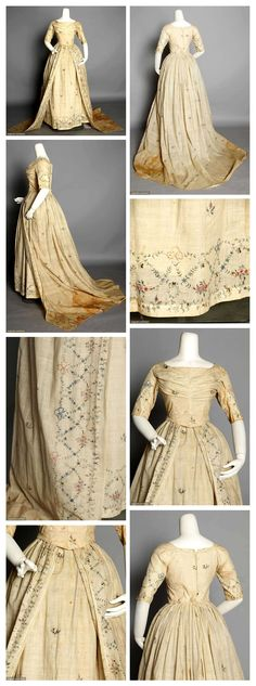 MUSLIN WEDDING GOWN, 1795  Dress w/ matching petticoat, delicate painted border designs & scattered painted sprigs. Augusta Auctions