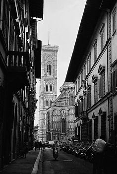 Streets of Florence in black & white by Elana Bailey. Been there in '97.