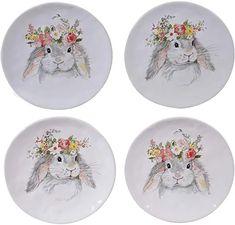 Amazon.com : Certified international sweet bunny dessert plates Stoneware Dinnerware Sets, Ceramic Cookie Jar, Soup Bowl Set, Dinner Plate Sets, Memorable Gifts, Mugs Set, Earthenware, Colorful Flowers, 3 D