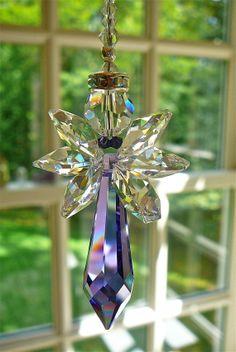"Angel Crystal Suncatcher, Swarovski Crystal Angel For Your Home or Car Rearview Mirror, ""Faith Purple"" Car Charm Guardian Angel, 6.5"" Long"