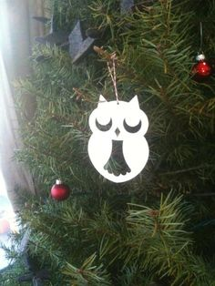 white owl ornament--easy diy with cardstock