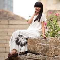 #23 - The Flower Simles  - read full story: http://www.elegente.com/artistic-lotus-painting-long-elegant-chiffon-dress-white.html