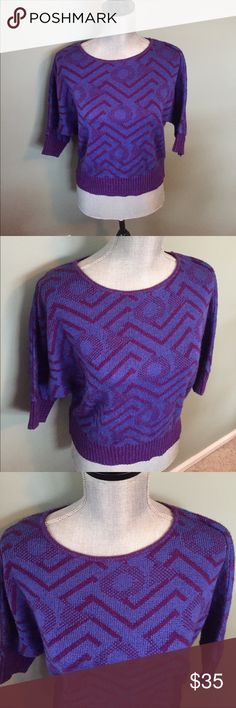 Lux cropped sweater Adorable 90's looks cropped purple sweater Lux Sweaters