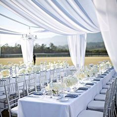 White Tablecloths; Silver Tiffany Chairs; White drapery; White floral centerpieces of rose hydrangea bouquets
