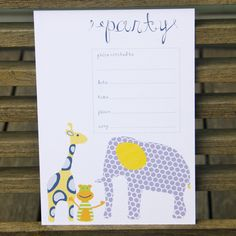 Animal invitations - $12.95 for a pack of 10