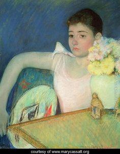 Girl in Pink with a Fan, c.1889 - Mary Cassatt - www.marycassatt.org