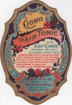 Vintage Label Crown Hair Tonic and Scalp Cleanser Dr. Vintage Labels, Vintage Ads, Vintage Images, Vintage Soul, Vintage Ephemera, Vintage Prints, Vintage Graphic, Crown Hairstyles, Vintage Hairstyles