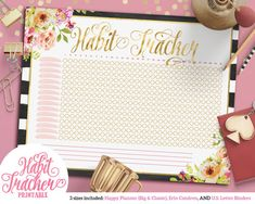 Printable Striped Floral Chic Habit Tracker | For Happy Planner | Erin Condren | U.S. Letter Binders | Instant Download