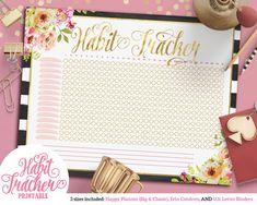 Printable Striped Floral Chic Habit Tracker | For Happy Planner | Erin Condren | U.S. Letter Binders | Instant Download