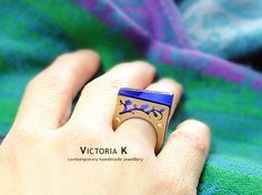 Geometric ring blue ring contemporary jewelry by VictoriaKdesigns