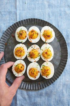 Sriracha Deviled Eggs with Crumbled Bacon
