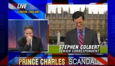 Watch Stephen Colbert and Jon Stewart slyly celebrate Colbert's Late Show promotion