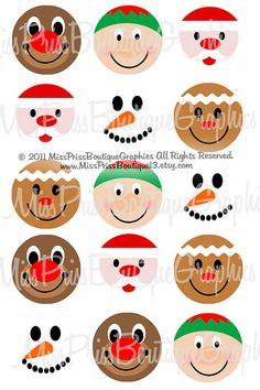 4x6 - CUTE CHRISTMAS FACE - Instant Download - One Inch Bottlecap Graphic Digital Collage Image Sheet no.781