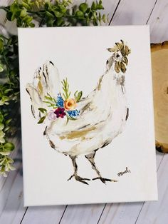 Original Chicken painting by Haley Bush. Size: Acrylic painting on canvas thick). Glossy finish and signed by artist. © 2018 Haley Bush Art Thank you for not copying or duplicating my original artwork. Chicken Drawing, Chicken Painting, Chicken Art, Acrylic Painting Canvas, Fabric Painting, Diy Painting, Canvas Art, Fence Painting, Original Artwork