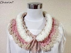 画像1: ウール100%ふわふわのピンクベージュの付け襟