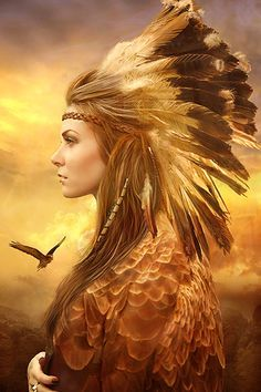native american princess in profile, eagle flying in background