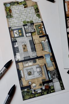 Interior plan rendering for proposed extension of a Victorian terrace. Promarker and fine liner pen.