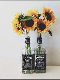 love the empty bottles, but no the sunflowers