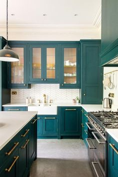 It's often difficult to guess how much your project will cost. So much depends on your design, size and what you want in the space but we've tried to show the average costings Teal Kitchen Cabinets, Brass Kitchen, Green Kitchen, New Kitchen, Home Decor Kitchen, Kitchen Interior, Home Kitchens, Classic Kitchen, Scandinavian Kitchen