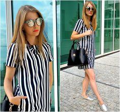 Lucie S. - Reserved Dress, H&M Bag, Wayfarer Sunnies, Wayfarer Espadrilles - Stripes | LOOKBOOK