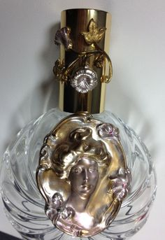 Vintage French Cameo Crystal Perfume Atomizer Bottle
