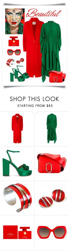 """Petar Petrov Demetria Green Silk Dress Look"" by romaboots-1 ❤ liked on Polyvore featuring Maje, Petar Petrov, Tabitha Simmons, 3.1 Phillip Lim, Ferrari, Dolce&Gabbana and Alice + Olivia"