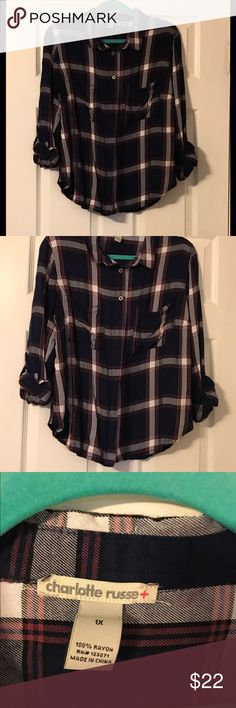 Like new Charlotte Russe blue flannel top- 1X Like new Charlotte Russe blue button up flannel top- 1X Charlotte Russe Tops Button Down Shirts