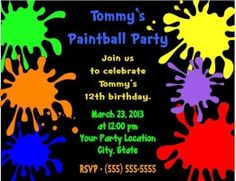 Paintball Paint Ball Birthday Party by CustomWrappers4U on Etsy, $1.05