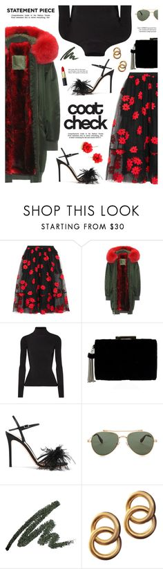 """""""Go Bold: Statement Coats"""" by catchsomeraes ❤ liked on Polyvore featuring Simone Rocha, Mr & Mrs Italy, Elizabeth and James, Gianvito Rossi, Givenchy, Tiffany & Co., Laura Lombardi, bomberjacket, darkflorals and statementcoats"""