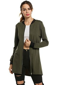 HOTOUCH Women's Full-Zip Jacket Slim Fit Jacket Army Gree...