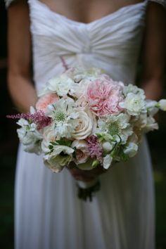 www.preciousandblooming.com  summer wedding, white flowers, green flowers, rustic, elegant, bridal bouquet, garden roses, soft, fluffy
