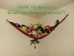 DIY Stuffed Animal Canopy #stuffedanimalhammock #stuffedanimalstorage #uniqueintuitions