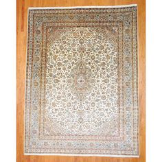 Persian Hand-knotted Mashad Ivory/ Beige Wool Rug (9'6 x 12'6)