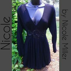 NICOLE MILLER TOP Elegant black Nicole top with beaded mid-waist design comes to a tie around back Nicole by Nicole Miller Tops