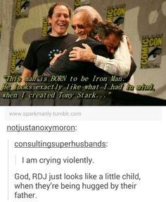 Stan Lee and Robert Downey Jr.