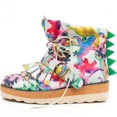 Irregular Choice 'Steposaurus', dinosaur print boot Glitter Boots, Glitter Pumps, Snow White Shoes, Black Boots, Irregular Choice, Princess Collection, Blue Pumps, Unique Shoes, Ugg Boots